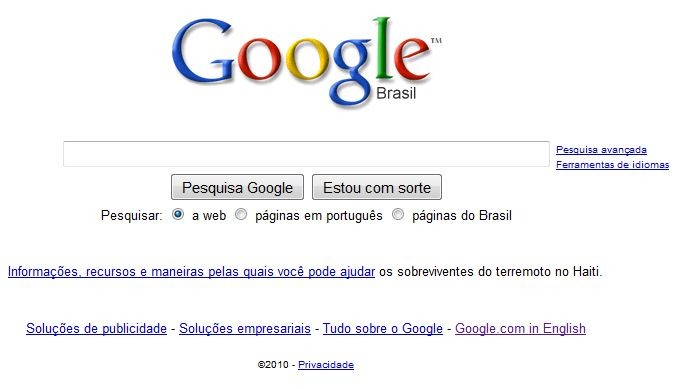 Página inicial do Google